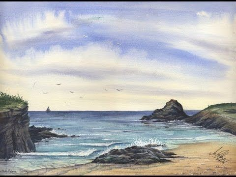 Paint A Cornish Seascape in watercolours with Matthew Palmer - www.watercolour.tv - YouTube