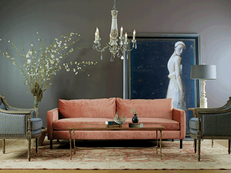 Antique Atelier Living Room: Wall Colors, Idea, Living Rooms, High Fashion Home, Interiors, Grey Wall, Studios Couch, Sofas, Antiques