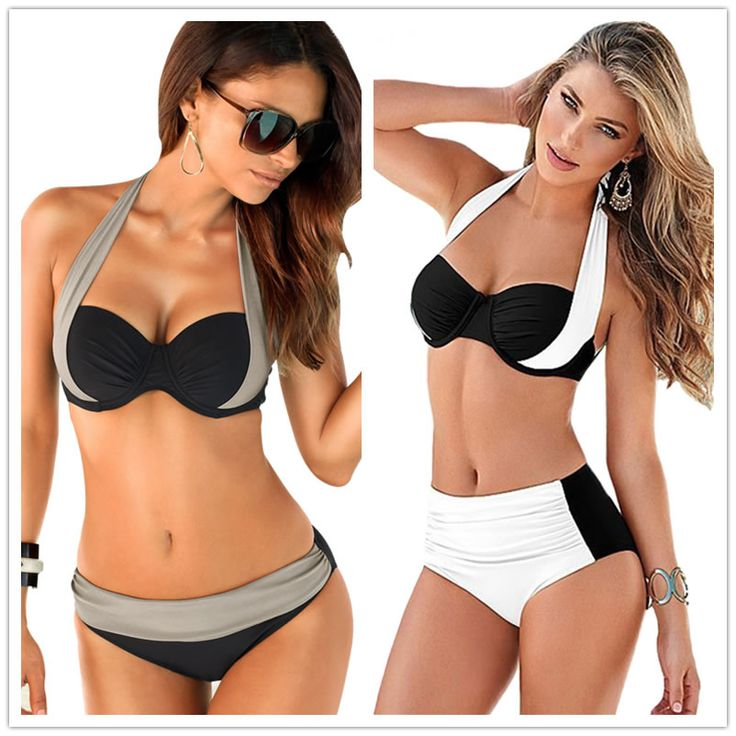$10.99 (Buy here: http://appdeal.ru/7b75 ) Knockout Wrap Halter Patchwork Vintage Push-up Women's Bikini Set High Waist Color Block Swimsuit Swimwear Plus Size XXL 8 for just $10.99
