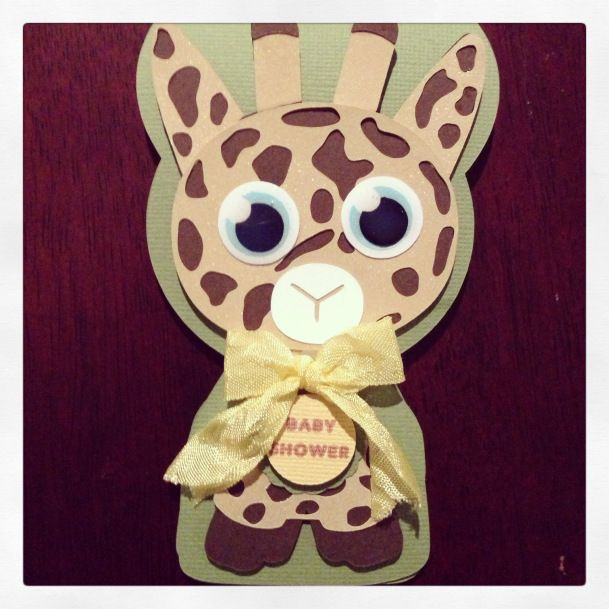 Giraffe baby shower invite card by Amy Prior @silhouetteamerica #silhouettecameo #babyshower #handmade #diyinvitations #invitations #bazzilcardstock #svgcuts #printandcut