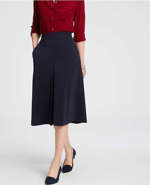 Primary Image of Pleat-Front Midi Skirt