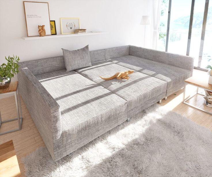 Wohnlandschaft Clovis Hellgrau Modular Strukturstoff Hocker Wohnen Sofa Wohnlandschaft Und Mobel Sofa