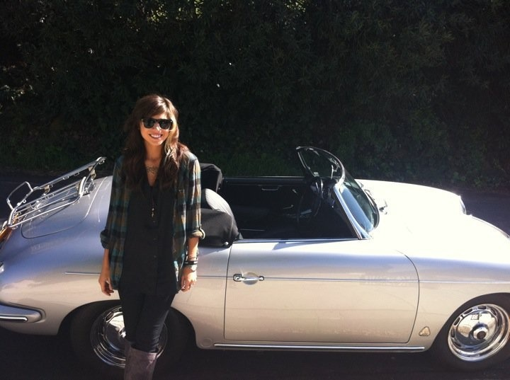 Christina Perri spent the day in Hollywood driving a Porsche 356 Roadster.