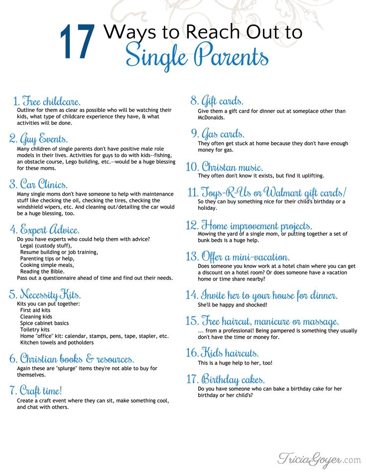 Tricia Goyer shares 17 ways you can reach out to single parents on her blog!