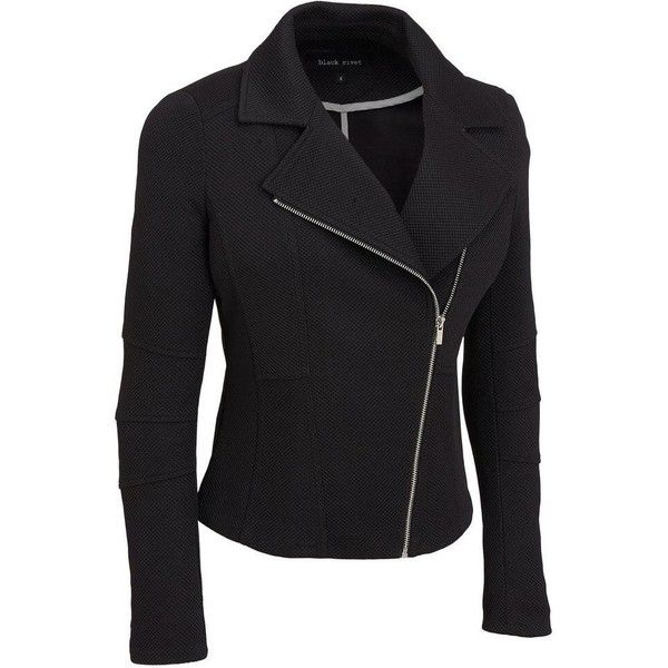 Plus Size Black Rivet Stretch Pique Moto Jacket ($60) ❤ liked on Polyvore featuring plus size women's fashion, plus size clothing, plus size outerwear, plus size jackets, plus size, slim fit biker jacket, collar jacket, motorcycle jackets and light weight jacket