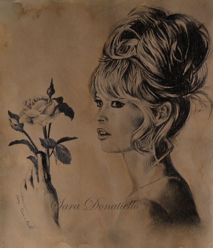 brigitte bardot, drawing portait with coffee and charcoal http://saraportrait.deviantart.com/