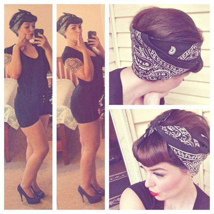 Just a plain black T-shirt paired with Black High Waisted  Shorts from Sidecca,black bandana from Walmart,Blue Leopard Print Heels from Gabes.