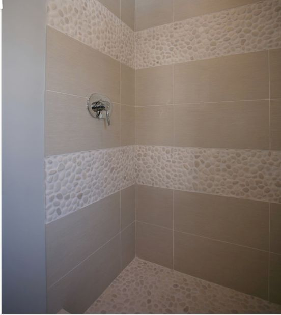 Shower inserts pebble tile treatments pinterest for Bathroom remodel 63367