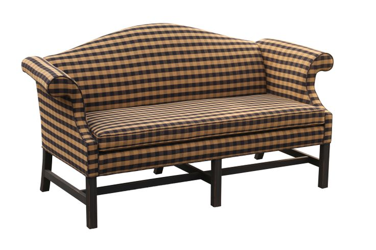 Camel Back SofaBlack And Tan Fabric Harvest House