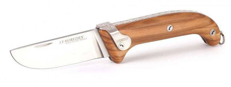 Couteau de poche Le Morezien club lame damas en olivier