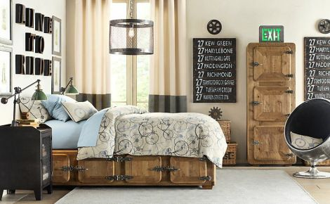 Wonderful-Industrial-Themed-Boys-Bedroom-Decor-with-Awesome-Door-and-Frame-Bed