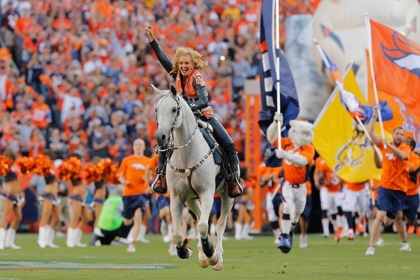 Denver Broncos mascot, Thunder, rides onto the field prior to the start of the NFL season opener against the Pittsburgh Steelers at Sports Authority Field at Mile High on September 9, 2012 in Denver, Colorado.