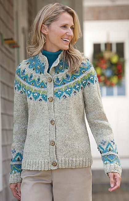 Icelandic Fair isle HandKnit Sweater ~ from Orvis ~ inspiration.  Lovely colour combiinations and particularly like the moss / seed stitch at the front