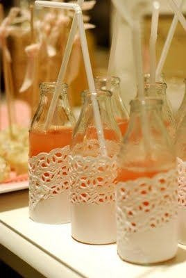 Doily wrapped bottles #doily #wrap #bottle #drink #glass #birthday #party #baby #shower #paper #decorate #decoration