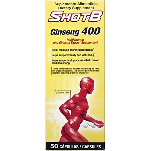 Shot B Multivitamin Supplement with Ginseng Capsules 50 Count * ** AMAZON BEST BUY **