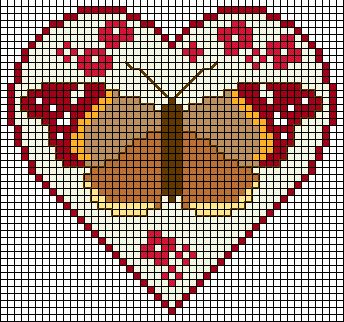 Butterfly heart -- perler beads