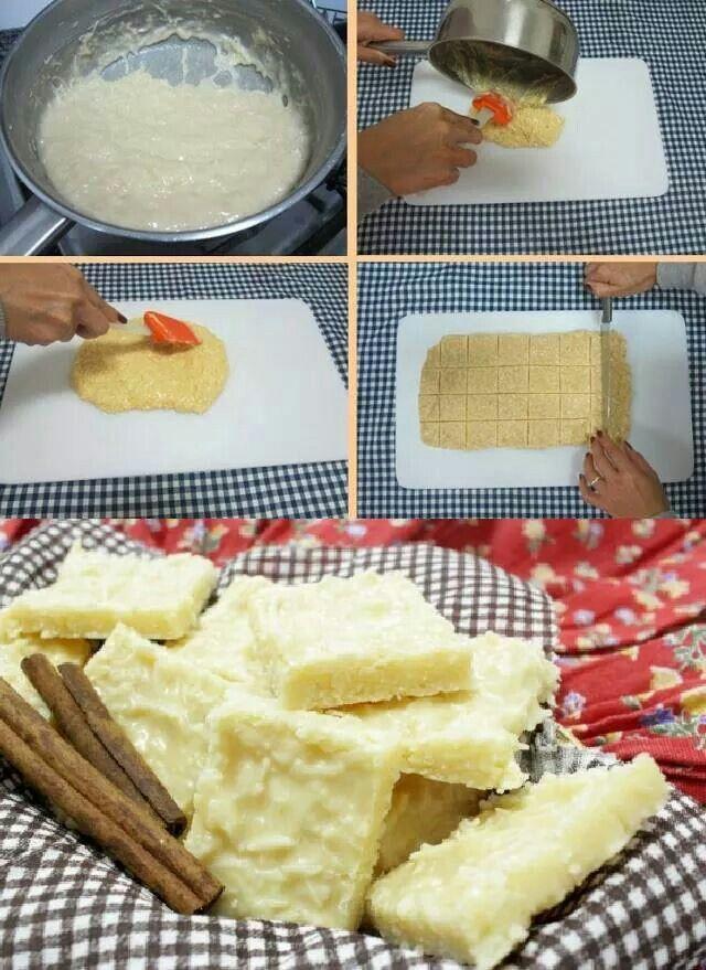 500 gramos de coco rallado fresco (1 coco grande), 1 lata de leche condensada (390 gramos), 2 latas de azúcar (usar la lata vacía de leche condensada para medir), 1 cuchara grande de mantequilla.  En una olla de fondo grueso, agregar todos los ingredientes y cocine a fuego medio, revolviendo constantemente, ojalá con paleta de madera, hasta que la mezcla se desprenda de las orillas. Retirar del fuego y colocar en una superficie plana y engrasada. Alisar con una espátula y dejar enfriar…