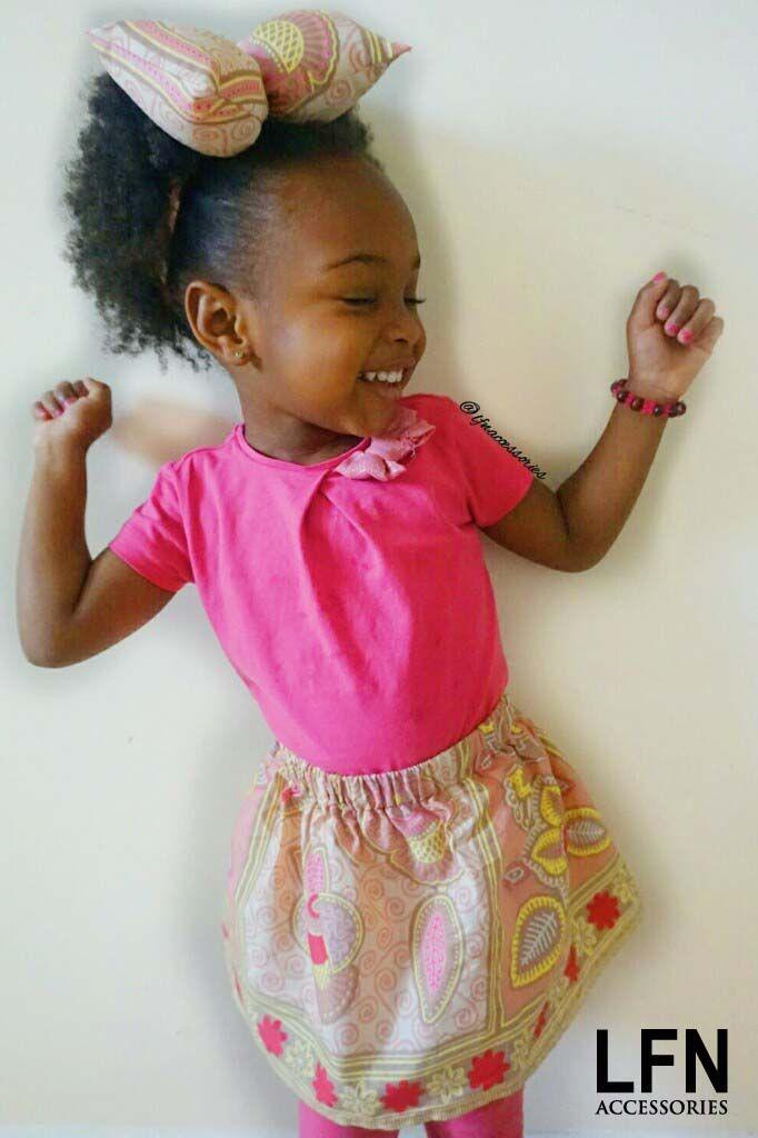 Pink Ankara Pillow Bow Tie Headband and Skirt Set. #ankara #africanprint #prints https://www.etsy.com/uk/shop/LFNACCESSORIES
