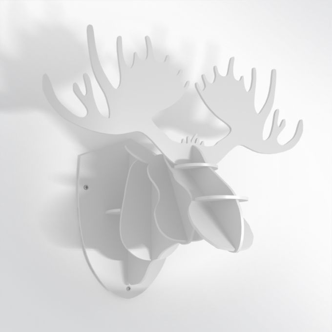 PVC Hunting Trophy - White Moose Antlers. Made from PVC foam, cnc cutted. Also available in baltic birch plywood. Designed and made in Québec, by dezz.xyz.