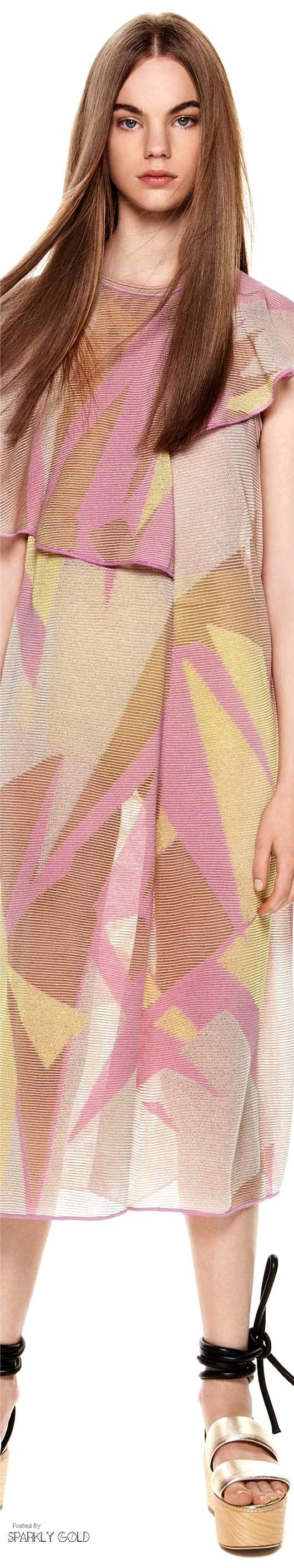 Angelic because of the color and and tht it's shot with gold - otherwise, the print is more Earthy Rich and Natural. M Missoni Spring 2017 RTW