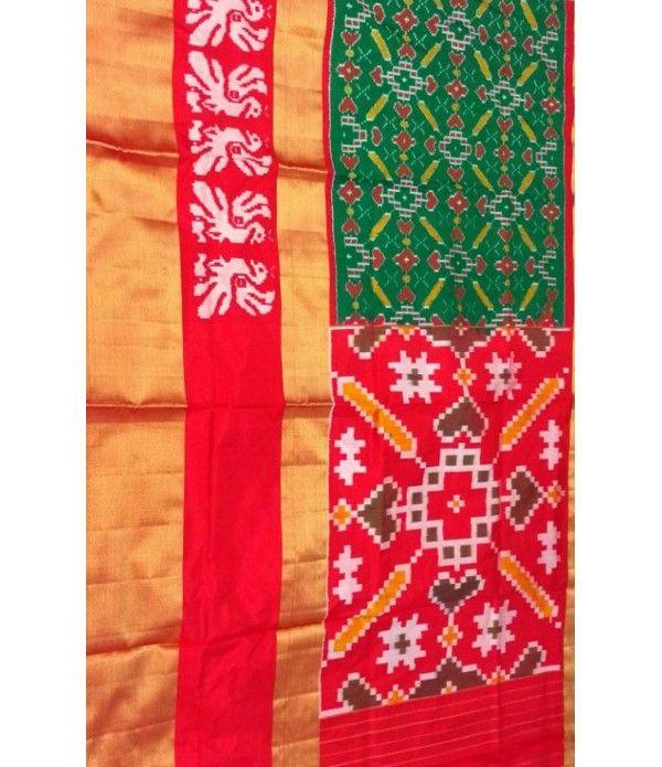 Green Handloom Ikat Pure Silk Saree