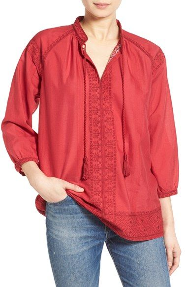 Madewell 'Camelia' Embroidered Tassel Top in Flame Red, MSRP $118, paid $19.35 including tax at Nordstrom Rack (in-store)