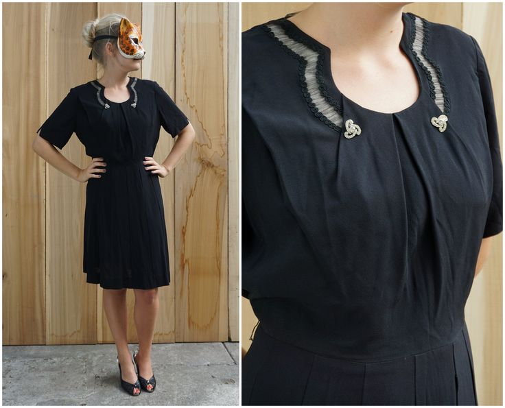Vintage 50's/60's Elegant Black Dress with Rounded Illusion Collar and Rhinestone Brooch Buttons | Large XL by AnimalHeadVintage on Etsy