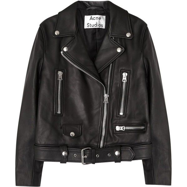 Acne Studios Mock black leather biker jacket found on Polyvore featuring outerwear, jackets, asymmetrical zip moto jacket, asymmetrical zipper jacket, moto jacket, motorcycle jackets and leather biker jacket