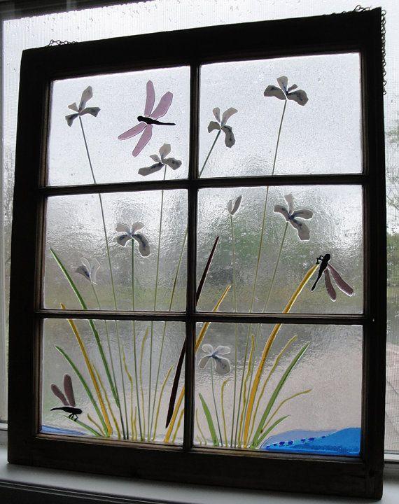 Red Poppy Flowers Fused Glass Antique Window by FlutterByButterfly