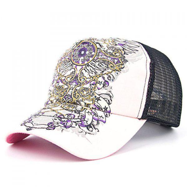 Chic Rhinestone Openwork Mesh Vintage Printed Baseball Cap For Women #women, #men, #hats, #watches, #belts, #fashion, #style