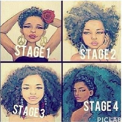 stages of natural hair.  start by cutting out the relaxed/heat damaged hair because where the new growth meets the damage is a stress point that causes breakage.
