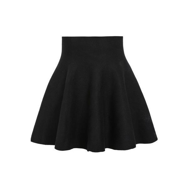 SheIn(sheinside) Black High Waist Ruffle Skirt ($12) ❤ liked on Polyvore featuring skirts, sheinside, black, high waisted knee length skirt, high waisted skirts, short black skirt, frilly skirt and black flounce skirt