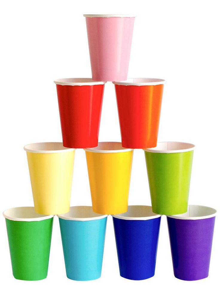 Brightly colored cups