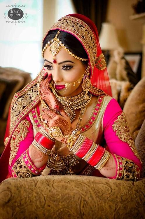 GORGEOUS Indian bride, indian bridal makeup, pink wedding lehenga