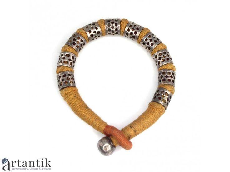 Bratara tribala indiana - Bazuband - argint & bumbac impletit