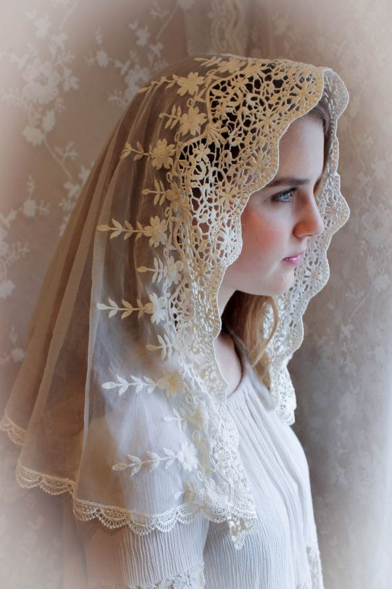 Evintage Veils~ Ivory Lace French Chapel Veil Mantilla Head Covering Latin Mass