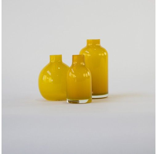 Jelly Bean Vase in yellow set of 3