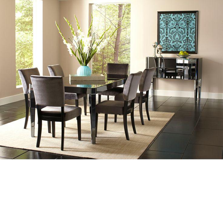 Standard Furniture Parisian 7 Piece Rectangular Mirrored Dining Table Set