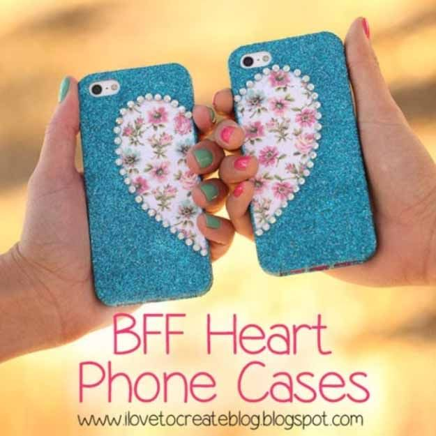 Cool Crafts You Can Make for Less than 5 Dollars   Cheap DIY Projects Ideas for Teens, Tweens, Kids and Adults   BFF Heart Matching Phone Cases   http://diyprojectsforteens.com/cheap-diy-ideas-for-teens/