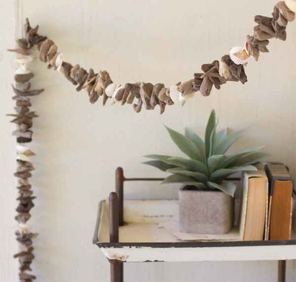 Driftwood and Seashell Christmas Garland. Found driftwood is re-purposed into a continuous garland strand with  natural assorted seashell accents. 6 feet long.