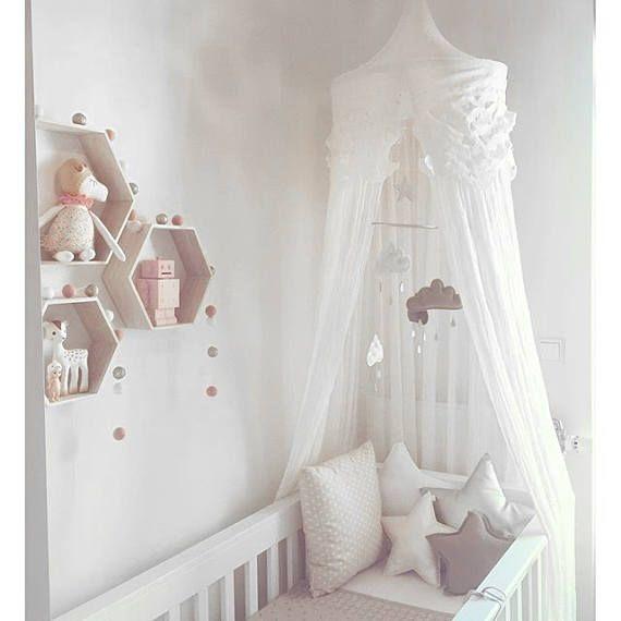Erröten Sie Coral Cloud und Sterne Mobile, Mobile für Baby, Geschenk für Baby, Mond Sterne Mobile, Baby Mobile, Cloud Mobile Kindergarten, Baby Krippe Mobile