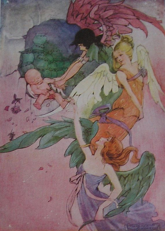 Original FAIRY Vintage Children's Print from 1915 - Florence Mary Anderson - Little Wee Cupid and the Fairies - Matted - Ready  to Frame