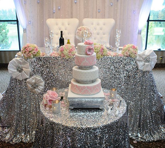 Wedding Cake Tables Decorating Ideas: 90 X132 Rectangle Sequin Tablecloth By CandyCrushEvents On