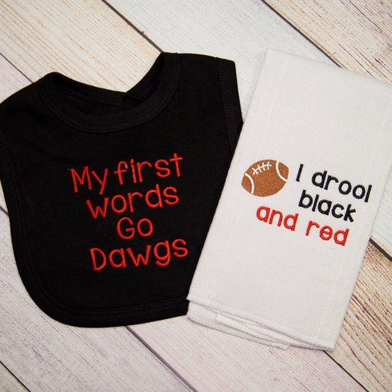Georgia Bulldog Fan Gift Set - Georgia Bulldogs Baby Bib - Georgia Bulldog Baby Girl - Georgia Bulldog Baby Boy - Big and Burp Cloth