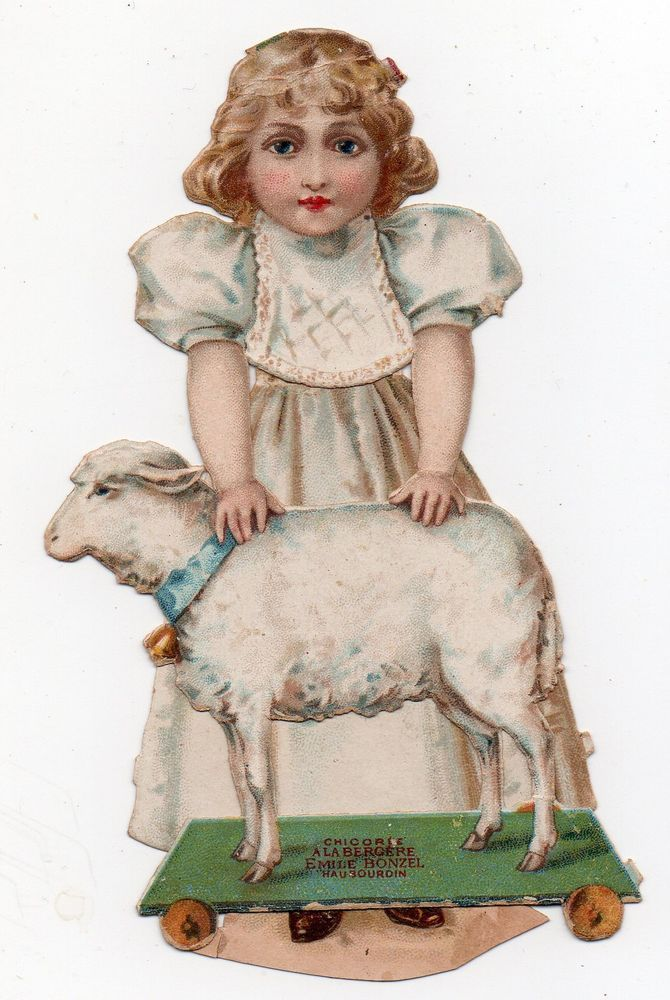VICTORIAN DIE CUT SCRAP - YOUNG GIRL WHITE DRESS WITH SHEEP TOY ON WHEELS