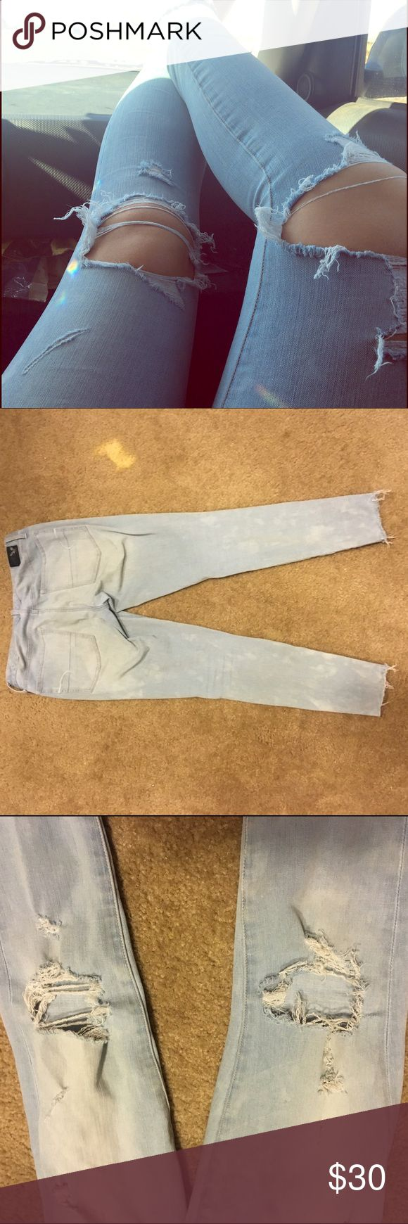 Ae  light wash distressed jeggings 360 super stretch     smoke free home                           worn a few times        great condition American Eagle Outfitters Jeans Skinny
