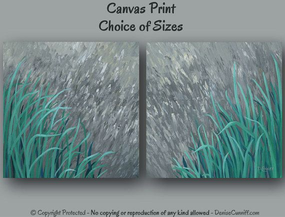 Teal and grey home decor paintings by Denise Cunniff - ArtFromDenise.com.  View this listing at https://www.etsy.com/listing/189626636/large-wall-art-teal-home-decor-canvas