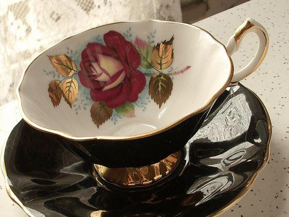 Antique red rose tea cup and saucer set, vintage Queen Anne bone china tea cup, English tea set, black tea cup