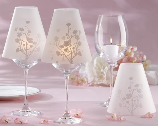 Cherry Blossom Vellum Wine Glass ShadeIdeas, Wedding Favors, Lamps Shades, Wedding Decor, Teas Lights, Cherries Blossoms Wedding, Wine Glasses, Tables Decor, Wineglass