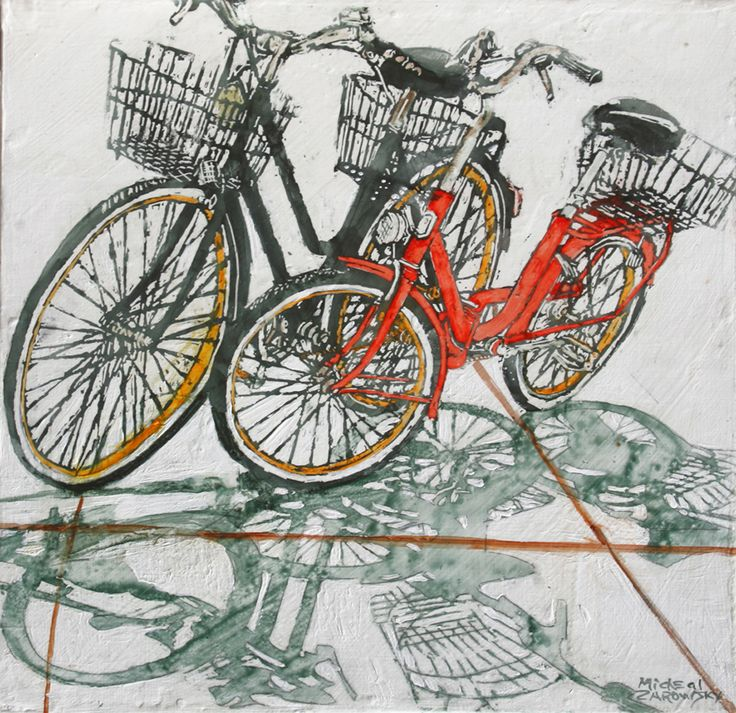 "lido bikes (87)   16"" x 16"" x 1 3/4""  micheal zarowsky / Mixed media (watercolour / acrylic painted directly on gessoed birch panel) Available $500.00"